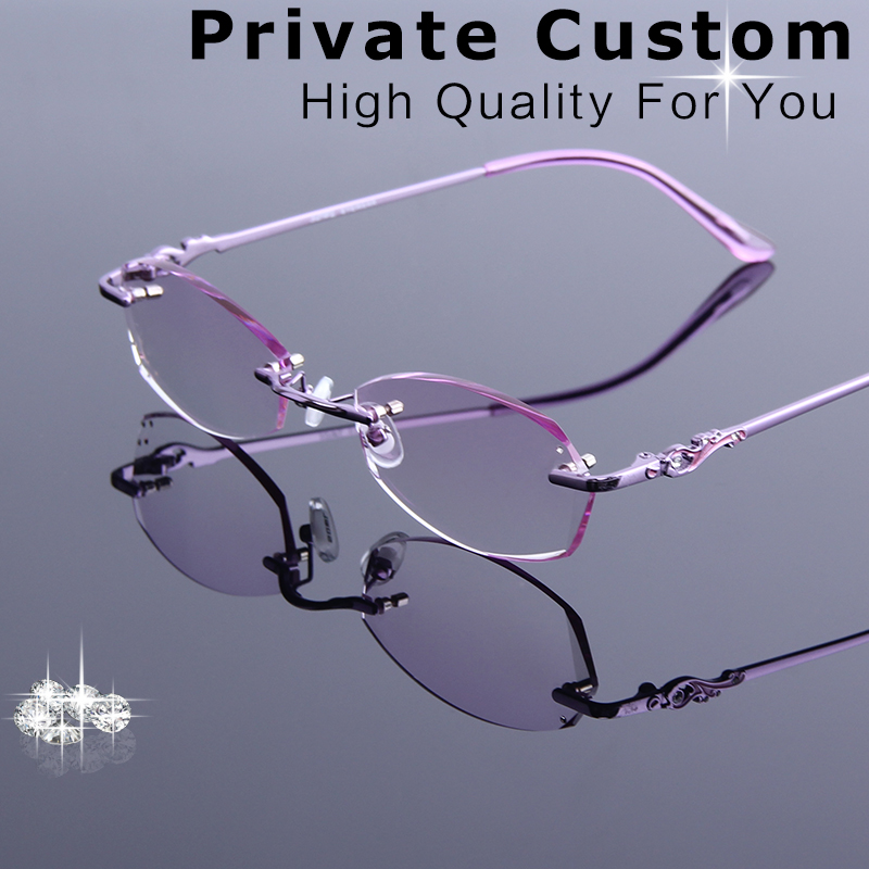 5279c232f6 Women Rimless Prescription Glasses Reading Myopia Rhinestone Eyeglasses  With Tinted Colorful Lenses For Multi-Focus Presbyopia