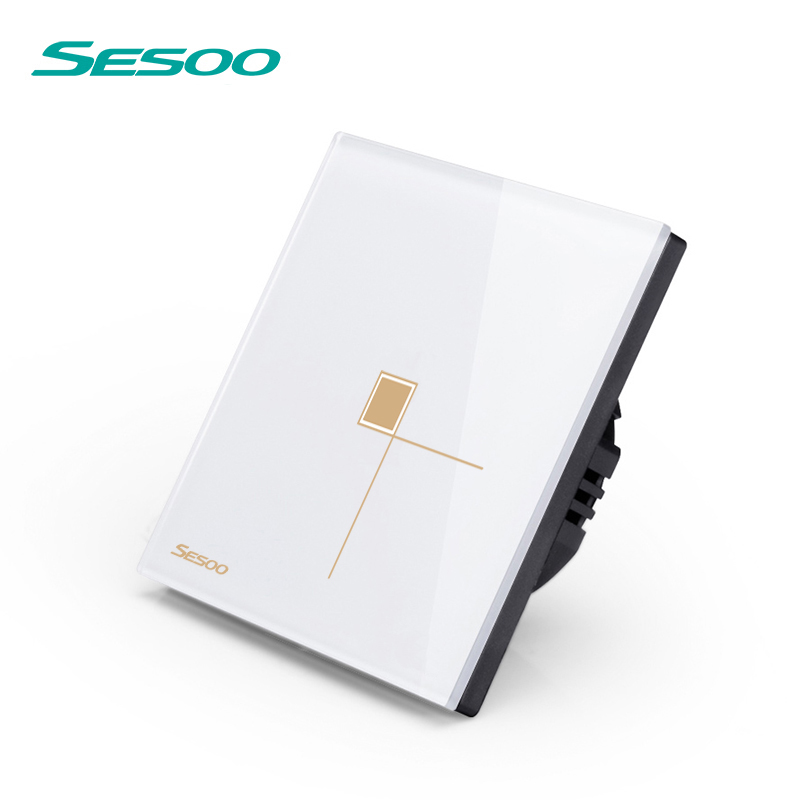 SESOO Remote Control Switch 1 Gang 1 Way, SY6-01 White, Voltage 170-240V,Touch Wall Switch,Touch Light Switch, dc24v remote control switch system1receiver