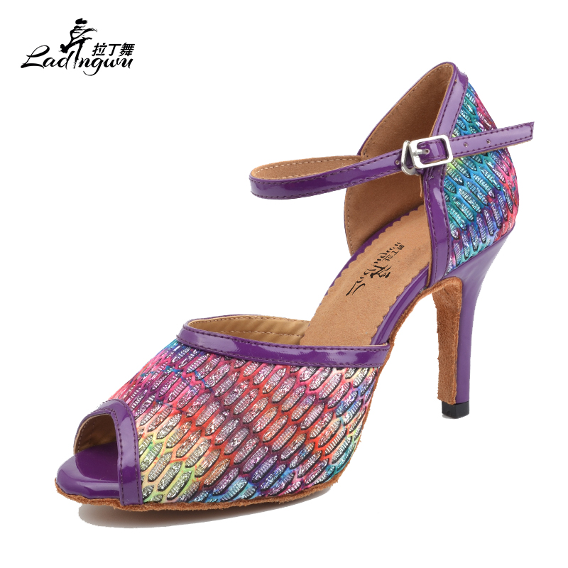 Ladingwu New Multicolored Lace and Purple pu zapatos de baile latino mujer Ballroom Dance Competition Shoes Heel 6/7.5/8.52/10cmLadingwu New Multicolored Lace and Purple pu zapatos de baile latino mujer Ballroom Dance Competition Shoes Heel 6/7.5/8.52/10cm
