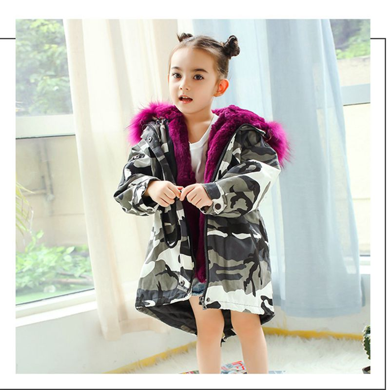 Children Fur Coat Girls Boys Winter Clothes Baby Real Rabbit Fur Jackets Girl Outerwear Thick Warm Parka Kids Windbreaker TZ336 цена