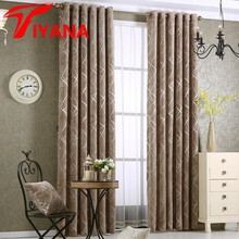 Tiyana American Elegant Thick Chenille Sliver Curtains For Living Room Grey Blinds Geometric Window Drapes Kitchen Panel P293D3