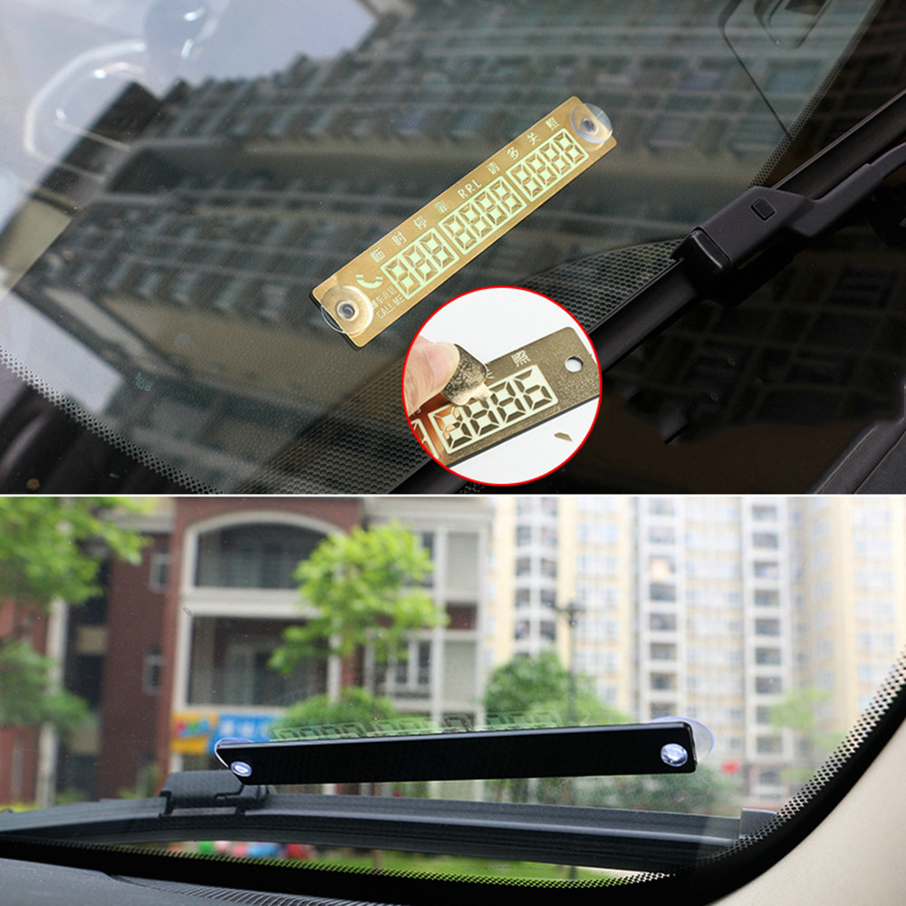 Temporary Car Parking Card Telephone Number Card Notification Night Light Sucker Plate Car Styling Phone Number Card in Car Stickers from Automobiles Motorcycles