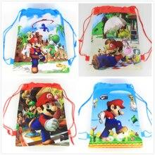 20Pcs Super Mario Thema Niet geweven Koord Rugzak Voor Kids Birthday Party Favor Gift Bag 34*27Cm