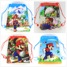 20pcs Super Mario Theme Non Woven Fabrics Drawstring Backpack For Kids Birthday Party Favor Gift Bag 34*27cm