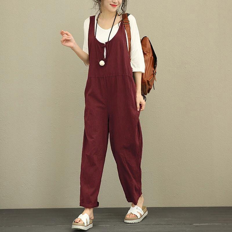 d184d459c891 2018 Retro Linen Rompers Pants Womens Vintage Jumpsuit Female Backless  Overalls Strapless Playsuit Women Pantalon
