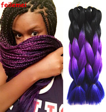 Kanekalon jumbo pelo trenzado ombre tres tonos caja de havana mambo crochet giro trenza sintética trenzas Negro y Púrpura y Azul