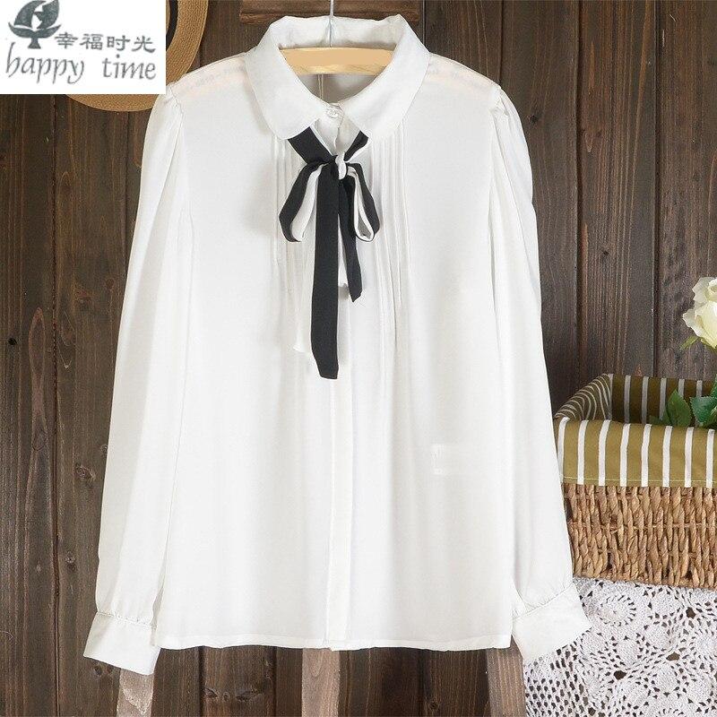 happy time European Milan fashion blouse Paris fashion women georgette undershirt shirt summer white shirt
