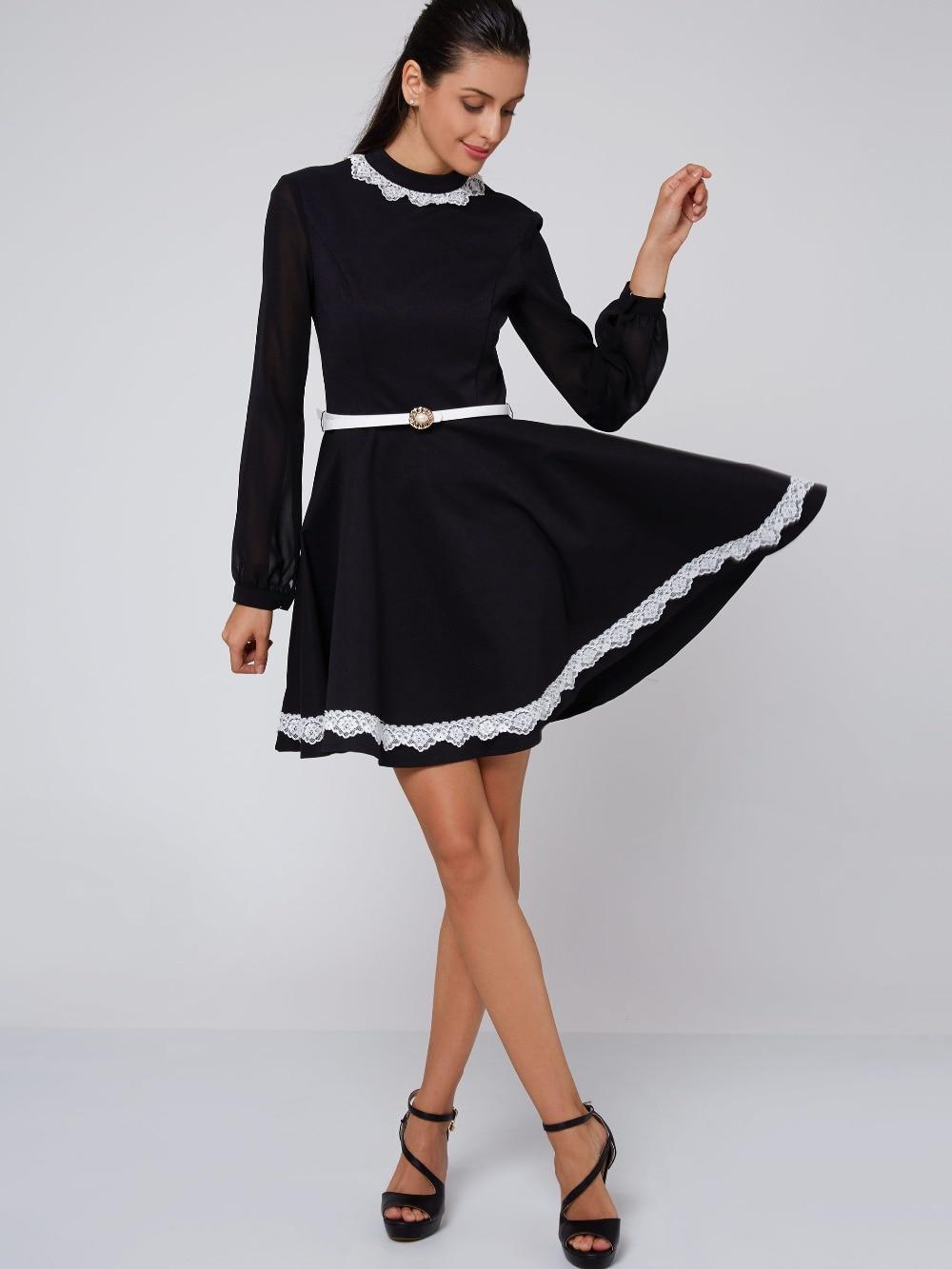Long sleeve black dress cheap