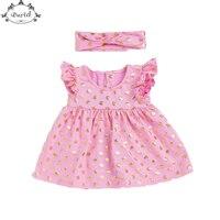 Cute Baby Girls Dress Ruffle Sleeve Smock Girls Dress Outfit Gold Polka Dots Kids Birthday Dress