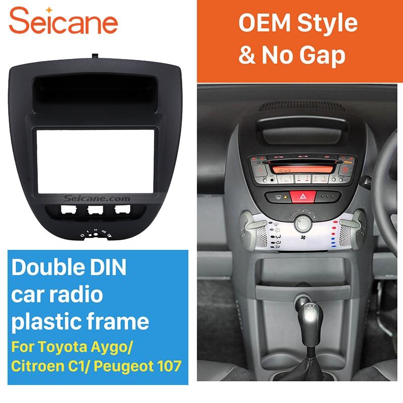 все цены на Seicane Great Double Din Car Radio Fascia for Toyota Aygo Citroen C1 Peugeot 107 DVD Panel Stereo Dash Trim Install Fitting Kit онлайн