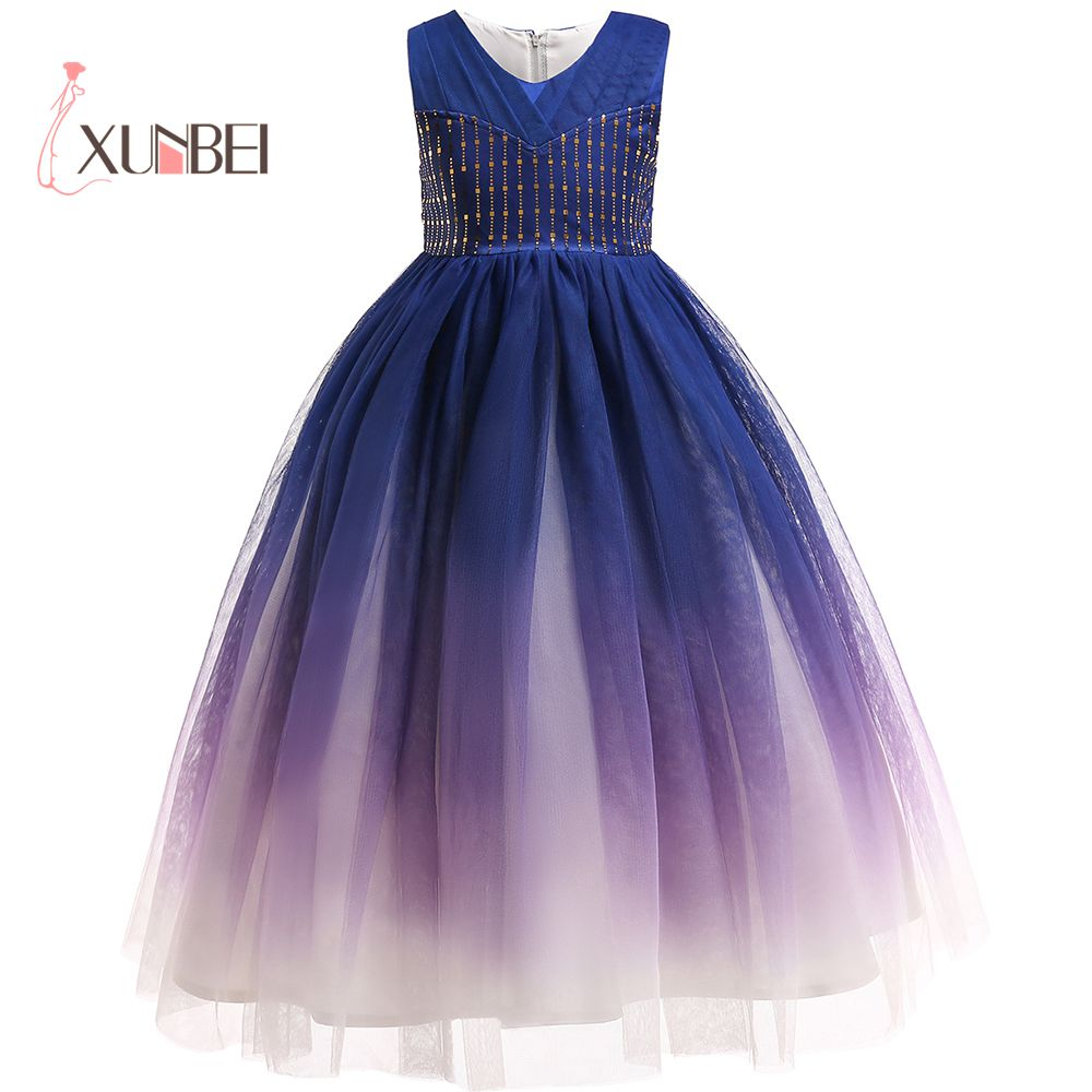 Princess Colorful Tea-Length Shing Beads   Flower     Girl     Dresses   2019 Ball Gown   Girls   Pageant   Dress   First Communion   Dresses