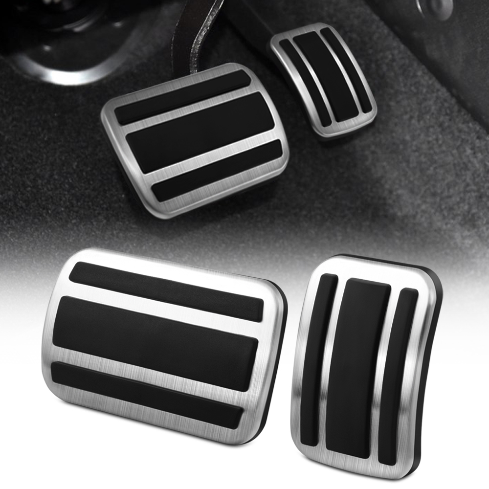 2Pcs Stainless Steel Car Gas Brake Accelerator Pedal Pad Cover AT For Peugeot 3008 GT 5008 2017 2018 No Drill Non slip