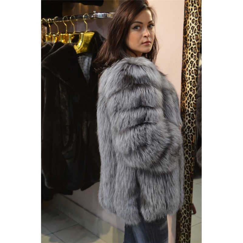 2f1d8dbc8 ... NEW Winter Natural Silver Fox Fur Coats Long Women Whole Skin Genuine  Leather Female Jacket in ...