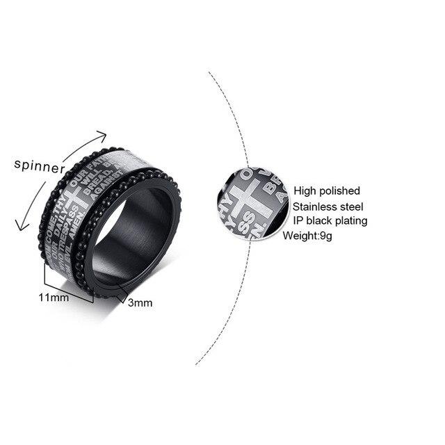 Купить мужское кольцо с крестом 11 мм из нержавеющей стали