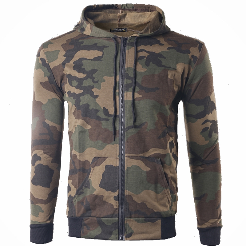 Foreign Sign Military style camouflage casual hooded Hoodies cardigan pure