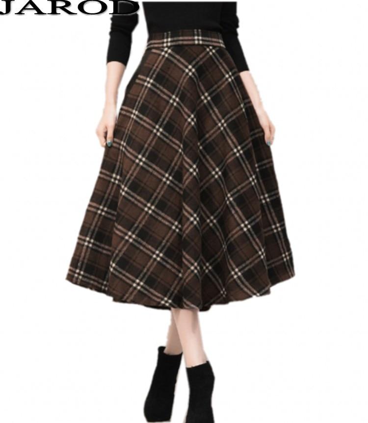 2017 Autumn Winter Women Woolen Plaid Skirt Women Patchwork High Waist Skirts Ladies office red Pleat Streetwear Long Skirts