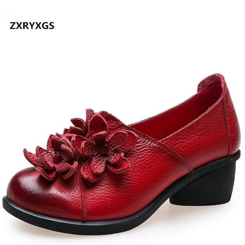 2018 Spring Retro Flower Cowhide Leather Shoes Woman Elegant Shallow Mouth Women High Heel Shoes Comfortable Soft Fashion Shoes aiyuqi 2018 new genuine leather women s shoes shallow mouth soft nurse shoes comfortable work spring shoes women