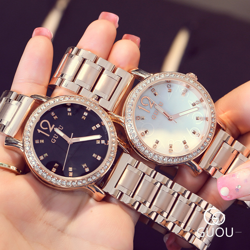 Luxury GUOU Brand Rose Gold Crystal Bling Full Stainless Steel Quartz Wristwatches Women' Ladies' Dress Wrist Watch 8137 100% new luxury rose gold bling crystal leather quartz wristwatches wrist watch clock for men male women ladies couple