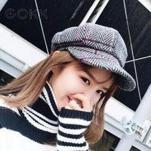 COKK Winter Hats Beret Vintage Newsboy Cap Octagonal For Women Stripe Plaid Hat Girls Flat Female