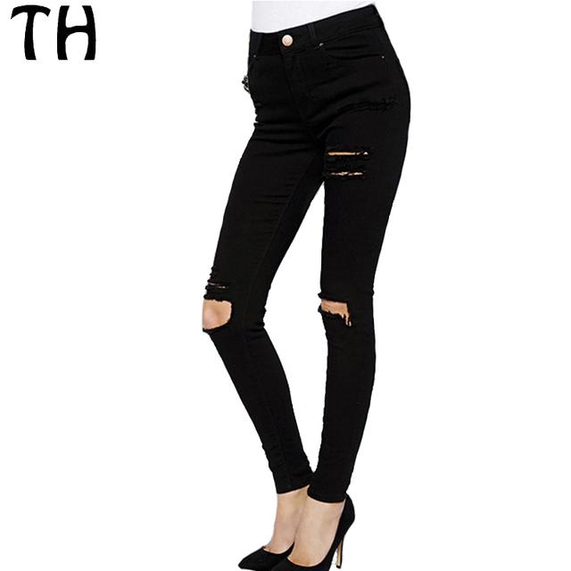 2016 Slim Fit Otoño Flaco Pantalones Del Lápiz De Las Mujeres Pantalones Mujer Femme Casual Denim Rasgado Agujero de Cintura Alta Pantalones Vaqueros Pantalones #161521