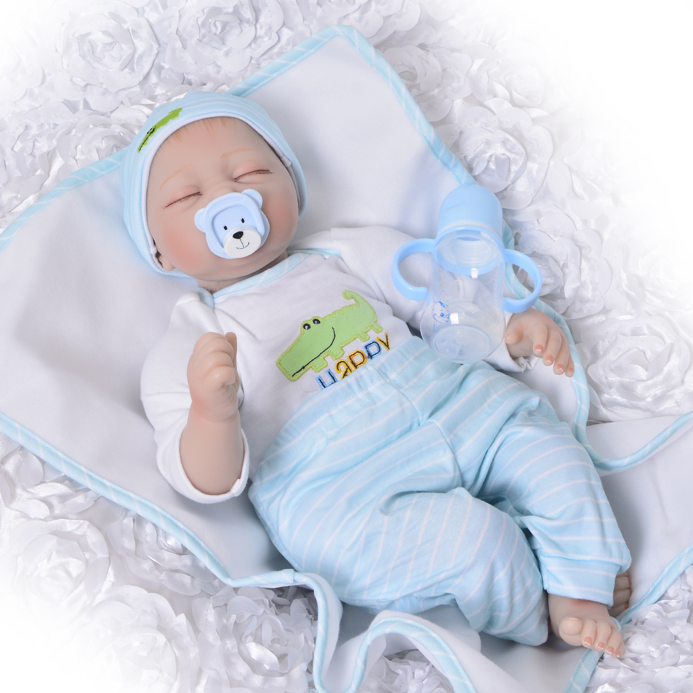 22 inch 55 cm Realistic New Born Baby Doll Realistic Soft Silicon Fashion Doll Reborn Sleeping Finished Toy Kids Birthday Gift