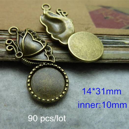 90 pcs Butterfly Base Setting Charm Pendants Fit 10mm Round Cabochon,Butterfly Blank Pendant Tray,Antique Bronze Tone