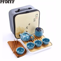 High end Outdoor Travel Chinese Kung Fu Tea Set Creative Imitation Marble Texture With Square Melamine Tea Tray With Travel Bag