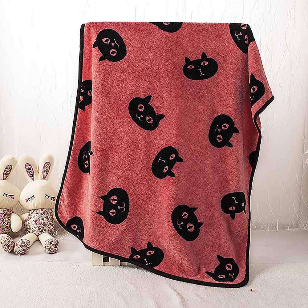Red Kitten Head Pet Cats Rest Flannel <font><b>Blanket</b></font> Dog Cushion Warm Sleep Nap Cover Mat Quilt Plush Carpet Coral Fleece Dog Accessory