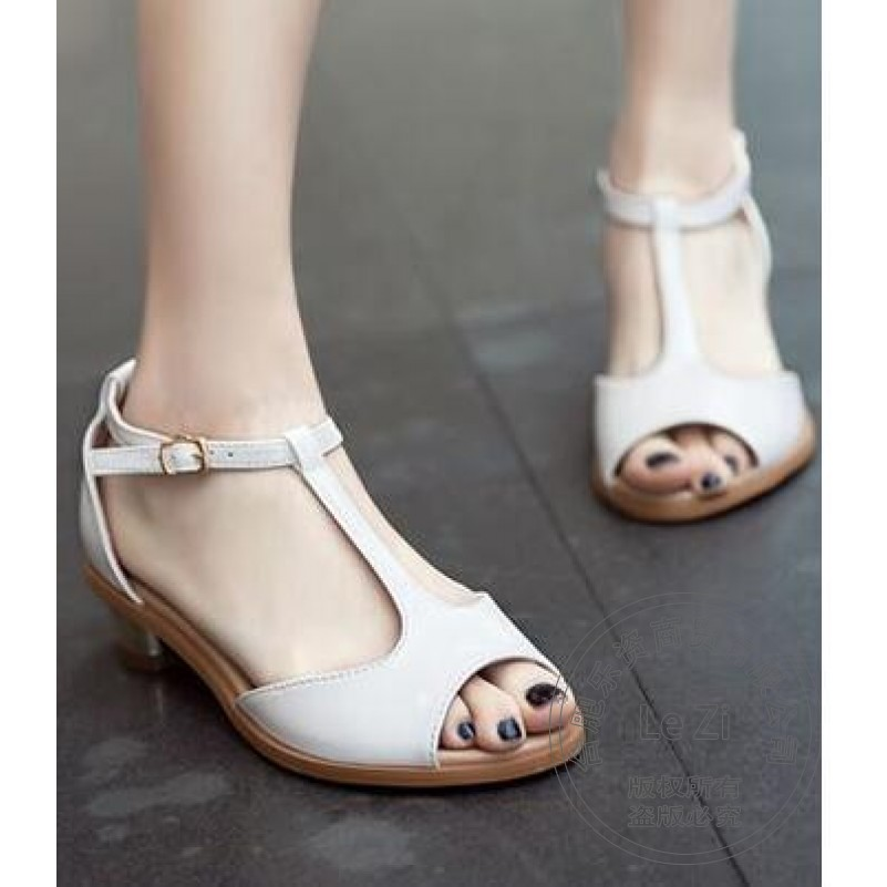 Square Heel 35 Size Pumps Leisure Thin Short Buckle T Strap Full Grain Leather Patent Leather