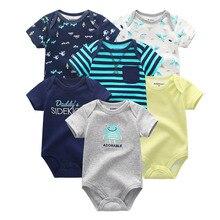 6 개/몫 Uniesx 여름 신생아 아기 Rompers 100% 코 튼 베이비 의류 세트 Roupas de bebe 아기 소년 소녀 옷