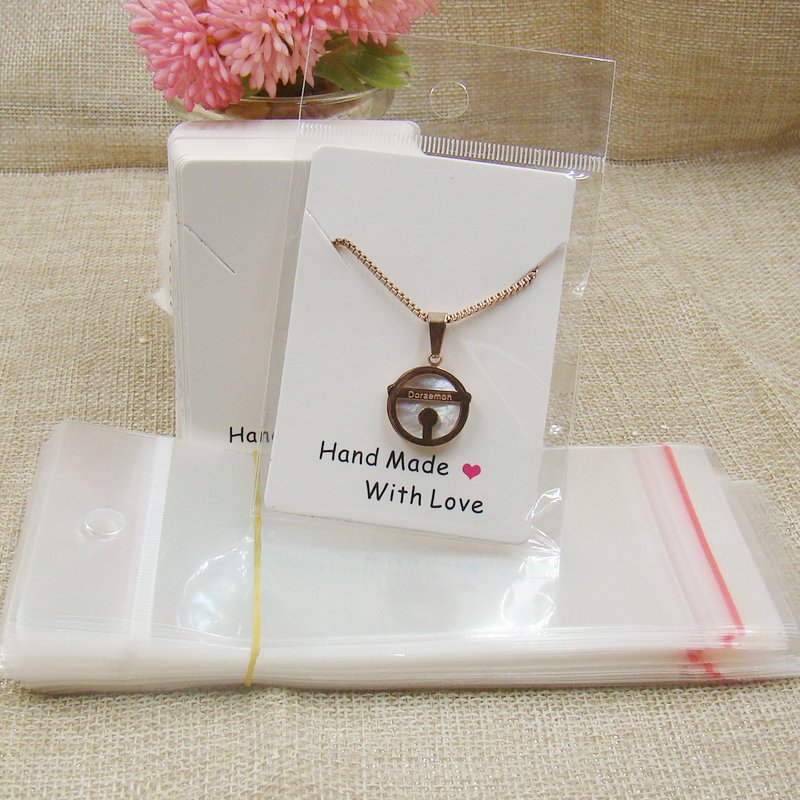 2017 new two style handmade with love necklace pendant cards100pcs +100pcs opp bag matching for jewelry products display image