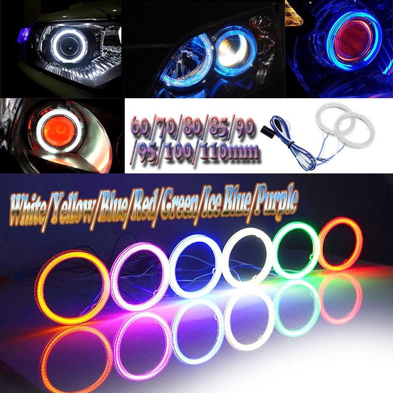 Pair 80MM COB LED Headlight 12V Car Angel Eyes Halo Ring Light White Light