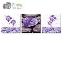 Flower Giclee Canvas Prints Floral Purple Flowers Canvas Art Zen Stone Painting Prints For Living Room