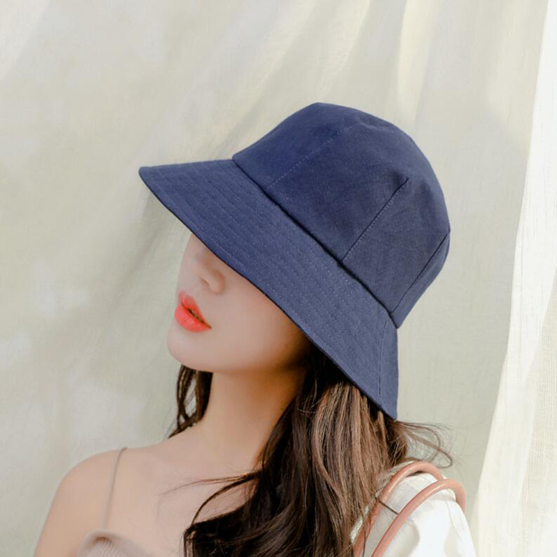 Summer Bucket Hat Cotton Fishing Hat Girls Women Sun Cap Outdoor Solid Fisherman Hats Outdoor Travel Caps Foldable