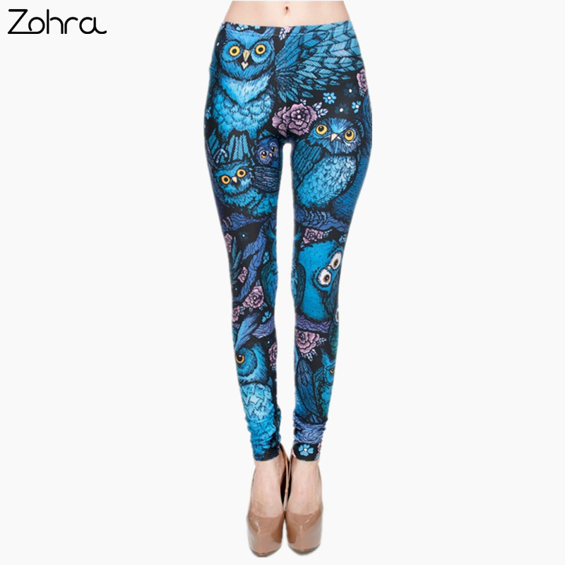 Zohra New Hot Night Owl Full Printing Pants Women Clothing Ladies fitness Legging Stretchy Trousers Skinny