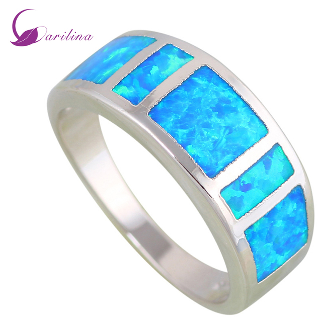 Pretty jewelry Opal rings women lady rings Blue Fire Opal 925 Sterling Silver Filled Wedding Party Engagement Love Ring R612