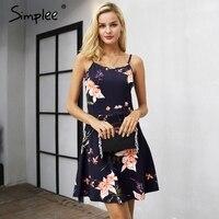 Simplee Strap v-hals bloemenprint mini jurk vrouwen Casual mouwloze een lijn jurk vrouwelijke Streetwear herfst korte jurk 2017
