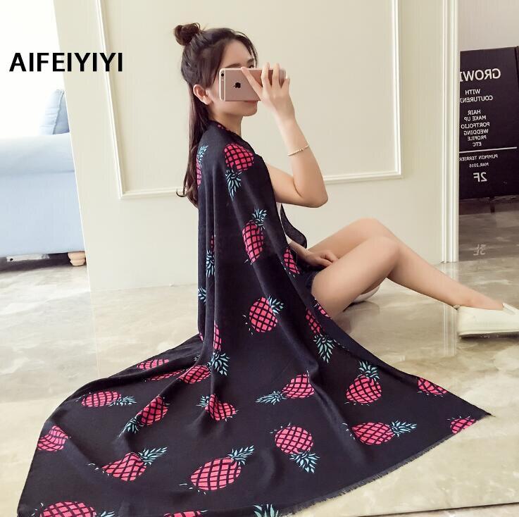 2018 Casual Muffler New Shawl Lady Large Beach Towel Pineapple Printed Shawl scarf