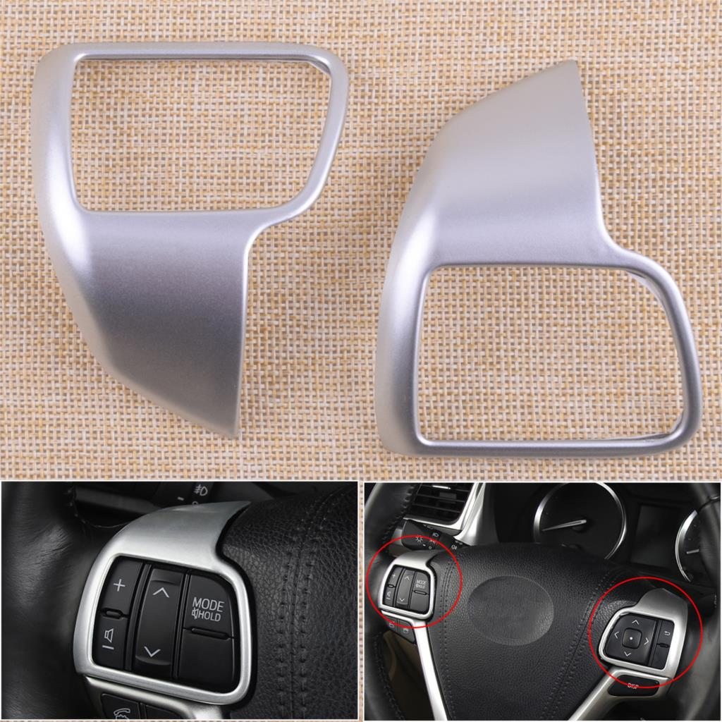 beler 2PCS ABS plastic Chrome Steering Wheel Cover Garnish Molding Fit for TOYOTA Highlander 2014 2015 2016 2017 Car-Styling