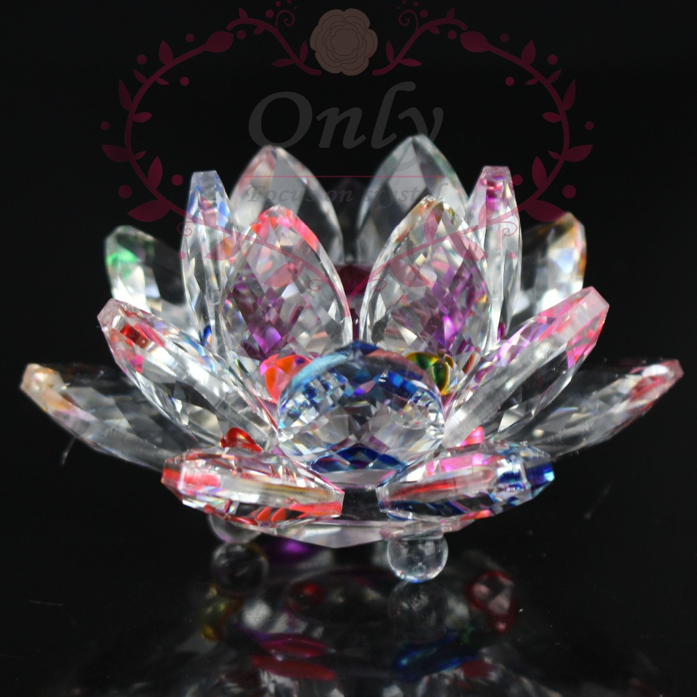 Free Shipping 85mm Rainbow Color Pure K9 Nature Crystal Lotus Flower