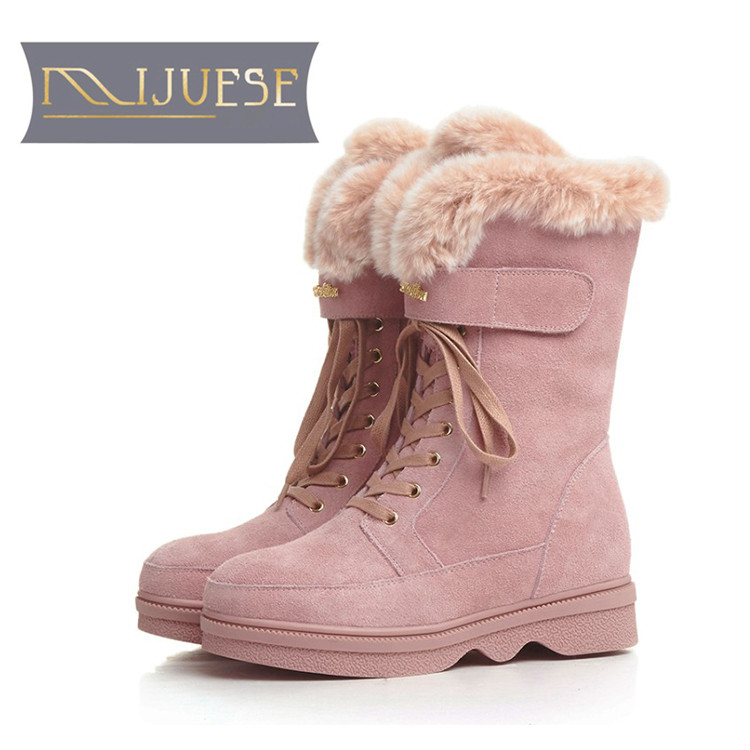 цена на MLJUESE 2019 women Mid calf boots cow Suede pink color lace up wool fur warm winter platform short plush women snow boots