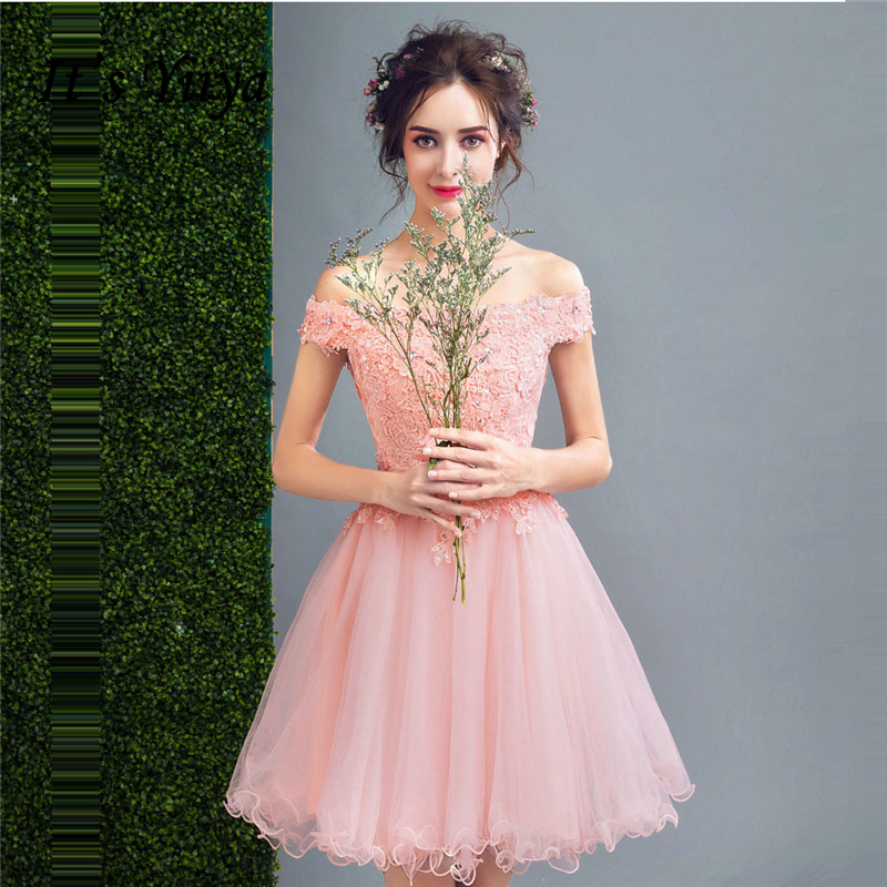 It's YiiYa Cocktail Dresses Pink Boat Neck Lace Sequins Bling Knee-Length Ball Gowns Plus Size High Grade LX1140 Vestido Coctel