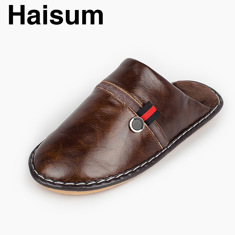 Men  Slippers Winter Genuine Leather Home Indoor Non - Slip Thermal Slippers 2018 New Hot Haisum Tb012