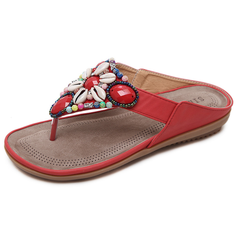 2a9871f91cd384 LAKESHI Summer Shoes Woman Beach Sandals Gemstone Floral Beaded Flip Flops  Bohemia Ladies Shoes Causal Flat Sandals-in Women s Sandals from Shoes on  ...