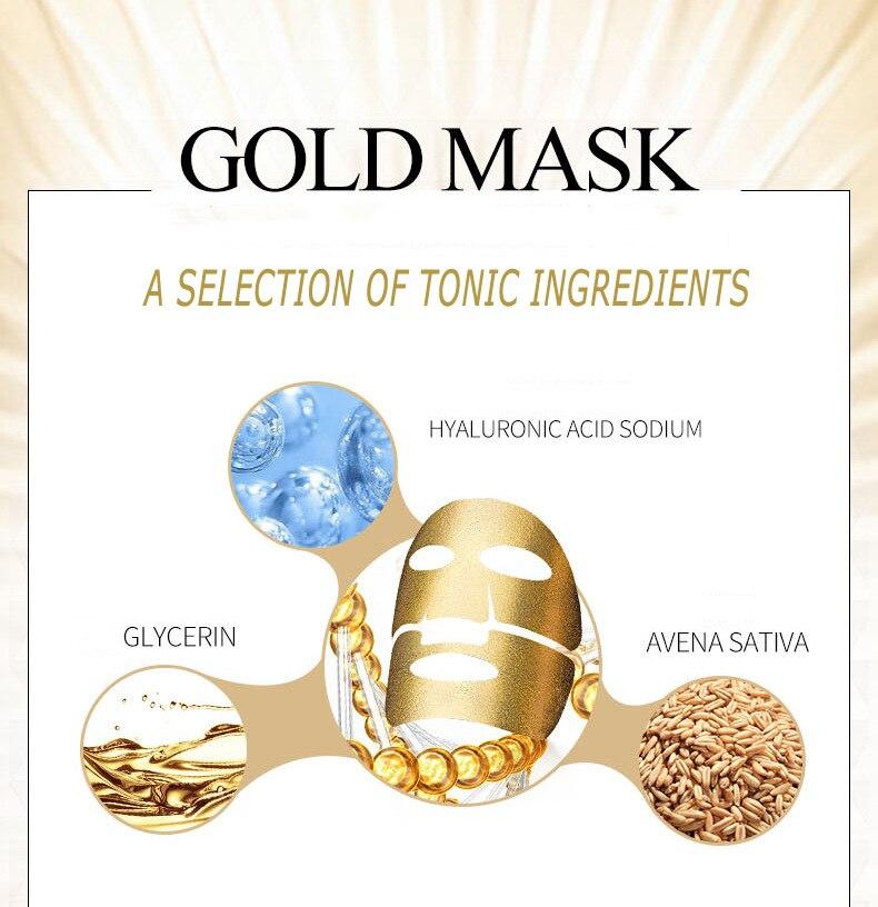 100pcs BIOAQUA Gold Facial Mask Whitening Hydrating Moisturizing Face Mask Beauty Anti aging Anti Wrinkle Skin