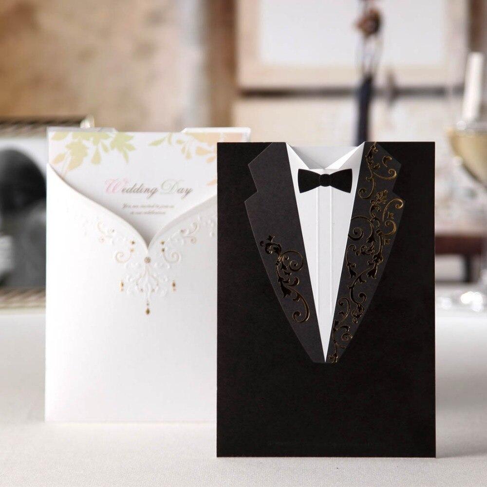 50 unids/lote tarjetas de invitación de boda con corte láser gratis novio y novia compromiso Tarjeta de boda eventos CW2011-in Tarjetas e invitaciones from Hogar y Mascotas    1