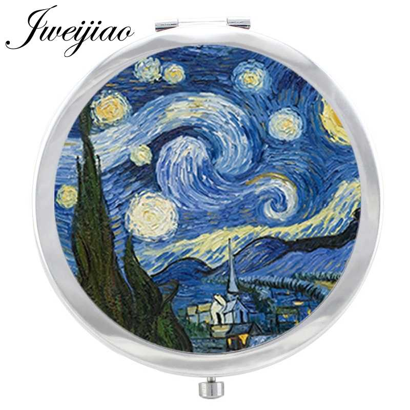 JWEIJIAO Starry Night Van Gogh Paintings Glass Cabochon Makeup Mirror Floding Round compact Hand pocket Mirror espejo