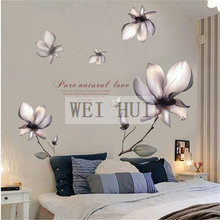Purple Flowers Vinyl Mural Decal Wall Sticker for Glass Window Living Room Home