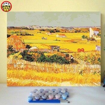 Van Gogh Hasat Yağ ünlü Tablolar Taklit Boyama By Numbers Sayılar