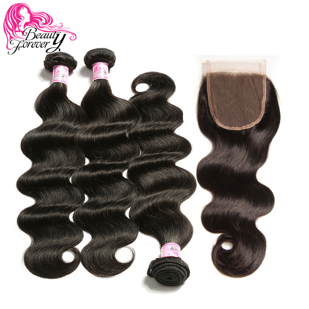 Beauty Forever Body Wave Brazilian Hair Weave 3 Bundles With Closure Free Part 100% Remy Human Hair